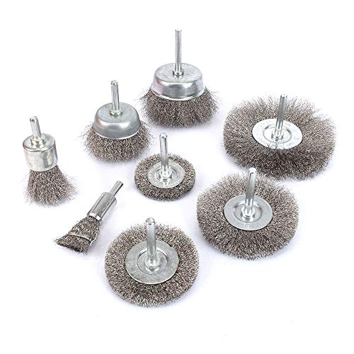 """8Pcs Stainless Steel Wire Brushes Wheel kit for Drill with 1/4""""shank 0.13mm"""