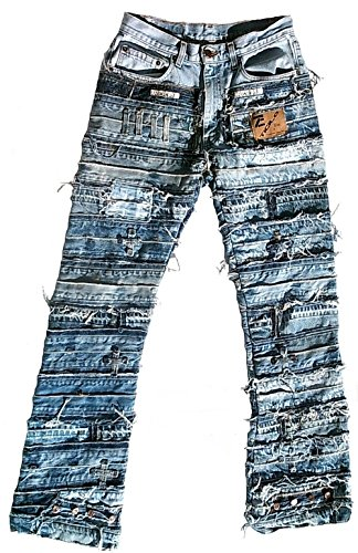 Ticila Seven Star Two Herren Jeans blau Designer Rock Star Patchwork Denim