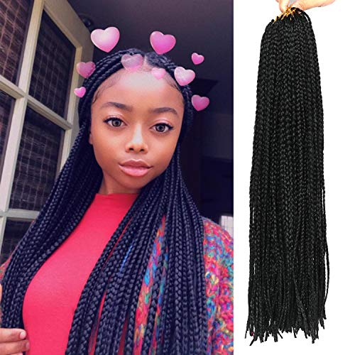 20 Inch 8 Packs Long Box Braids Crochet Braids Synthetic Crochet Hair Box Braid Hair Extension Black Color (20 Inch, 1B)