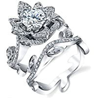 Saengthong 925 Silver Cubic Zirconia Statement Lotus Ring Set Women Wedding Bridal Jewelry (8)