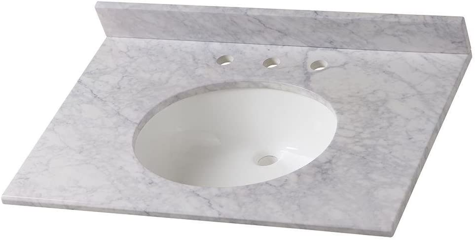 Amazon Com Home Decorators Collection 31 In Stone Effects Vanity Top In Carrera With White Basin Electronics