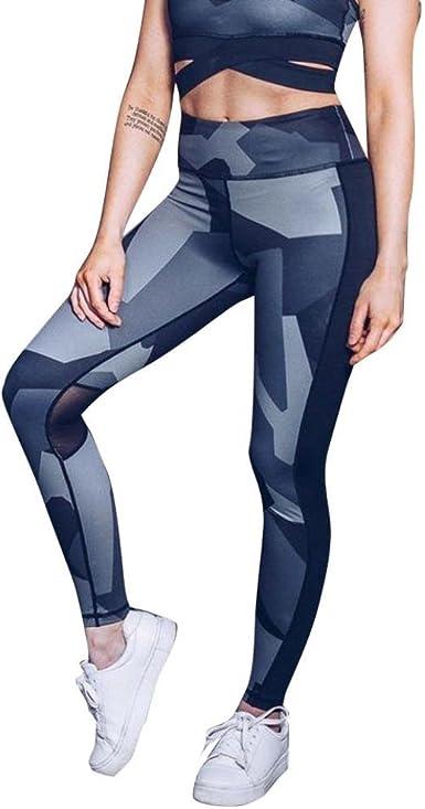 Domple Womens Capri High Elastic Rise Push-up Gym Mesh Yoga Pants Trousers