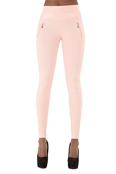 cda6a39235ff Lusty Chic Womens Slim Fit Leggings Leather Strip Style Trousers With Zips  White Beige Pink Blue