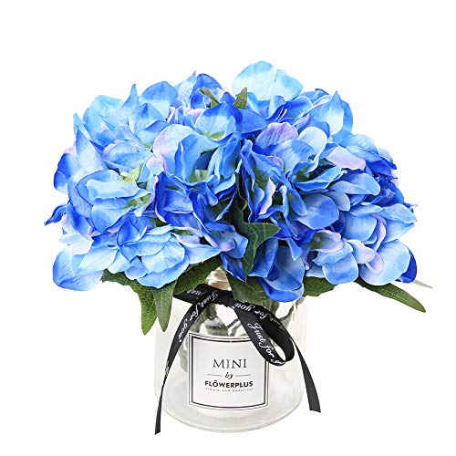Veryhome Hydrangea Artificial Silk Fake Flower Bunch Bouquet Arrangements for Home Wedding Garden Floral Decor(Blue) (Arrangment Silk Flower)