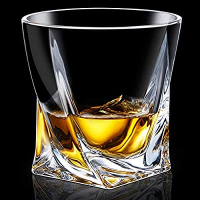 Crystal Whiskey Glass Set of 4 - Premium Lead Free Crystal Glasses - Twist Tasting Tumblers for Drinking Large 10 oz - Elegant Whisky Gift Box Set for Scotch or Bourbon