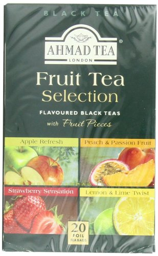 Ahmad Tea Fruit Tea Selection, 20-Count (Pack of 6) 4 Case of six boxes, each containing 20 foil-wrapped tea bags (120 total tea bags) Stimulating tea with a resonant, fruity aroma Enjoy the rare pleasure of a fine English tea