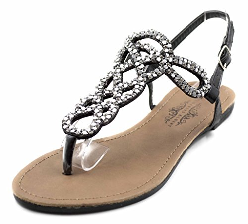 Jeweled Thongs (Charles Albert Women's Pazzo Loopy Metal Stone Sandal in Black Size:)