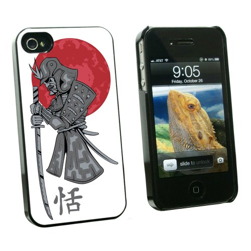 Graphics and More Samurai and Red Moon - Japanese Asian Sword - Snap On Hard Protective Case for Apple iPhone 4 4S - Black - Carrying Case - Non-Retail Packaging - Black