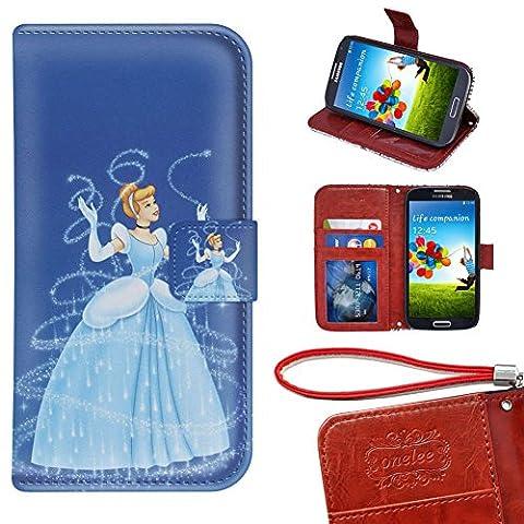 Samsung Galaxy S4 Wallet Case, Onelee - Disney Princess Cinderella Premium PU Leather Case Wallet Flip Stand Case Cover for Samsung Galaxy S4 with Card (Cinderella Phone Cases Galaxy S4)
