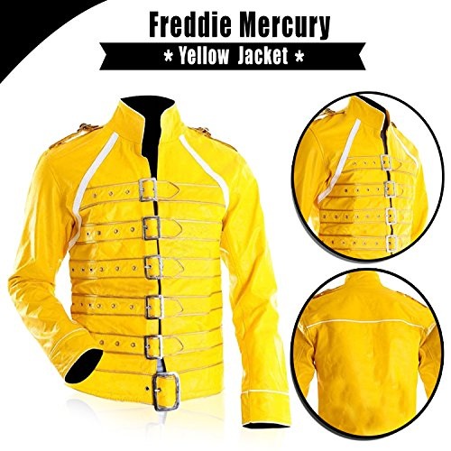 Freddie Mercury Wembley Queen Concert Belted Motorcycle Faux Leather Yellow Jacket Costume
