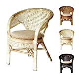 Cheap Pelangi Handmade Rattan Dining Wicker Chair W/cushion, White Wash