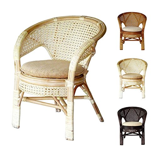 Pelangi Handmade Rattan Dining Wicker Chair W/cushion, White Wash