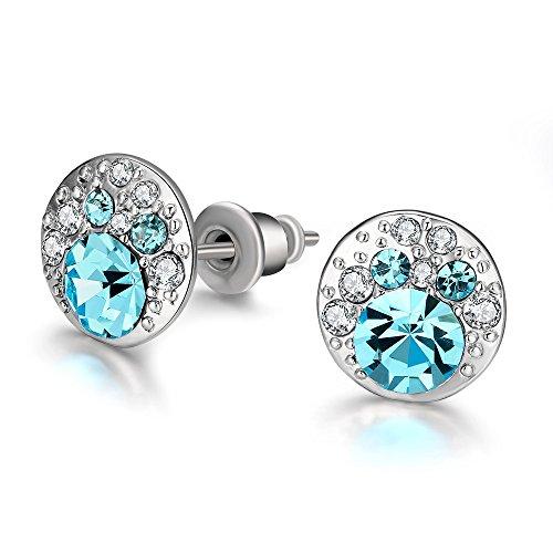 Crystal Jewelry Blue Cubic Zirconia Stud Earrings Dangle Earrings for Women Valentine's Day Charm Elegant - Baby Faux Earrings