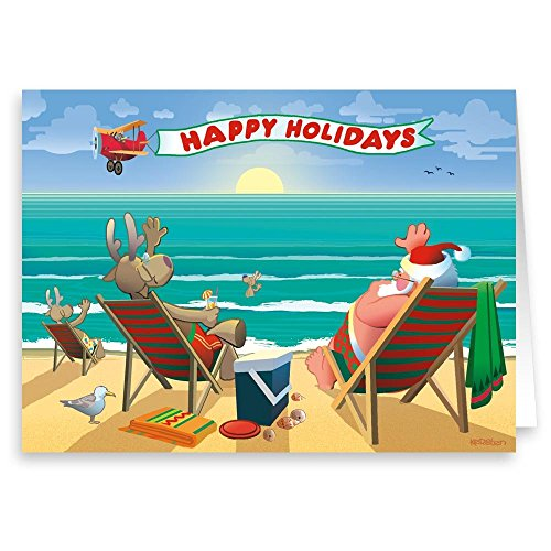 Beachside Enjoyment Christmas Card - Boxed set of18 Christmas Cards & Envelopes