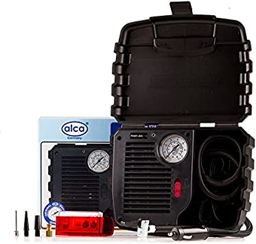 ALCA Alemania 12V compresor de aire práctico Inflador neumático bomba 7 bar 100 psi con lámpara, cigarrillos, enchufe el cable de alimentación de 10 pies, 4 adaptadores