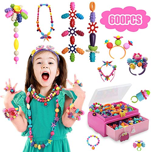 Tigerhu ポップスナップビーズセット おもちゃ ジュエリー作成キット ヘッドバンドリングブレスレットネックレス 教育DIYポップアートビーズ 女の子 幼児 子供用 600 Pieces US-Popbeads-600
