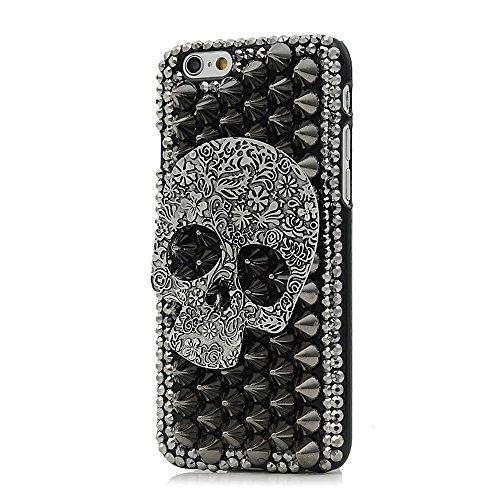 Sense-TE STENES iPhone 6S Case - Luxurious Crystal 3D Handmade Sparkle Glitter Diamond Rhinestone Ultra-Thin Clear Cover with Retro Bowknot Anti Dust Plug - Punk Skull/Black