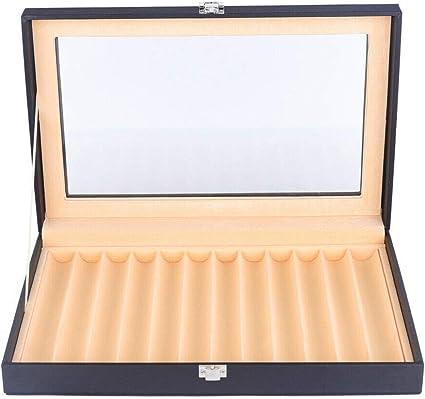 YIYIBY caja porta bolígrafos con vitrina Caja de almacenamiento para 12 plumas estilográficas caja porta bolígrafos negro: Amazon.es: Oficina y papelería