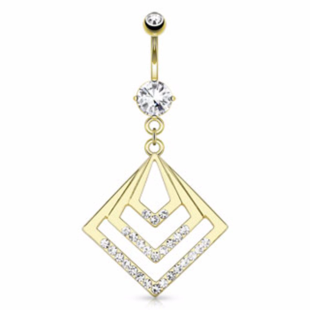 Steel Gold Plated Navel Ring Geometric Squares Freedom Fashion 316L S