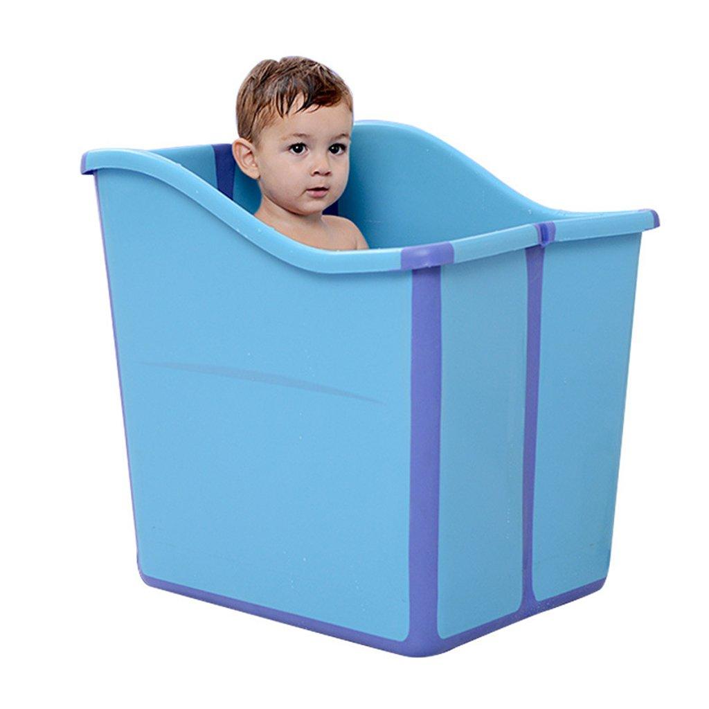 CQYGZHL Aufblasbare Badewanne, Baby Faltbarer Kunststoff Badefass Verdickung Portable Bath Barrel Badewanne (Farbe   Blau)
