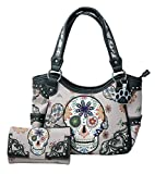 HW Collection Western Sugar Skull Flowers Concealed Carry Shoulder Handbag and Crossbody Wallet (Grey)