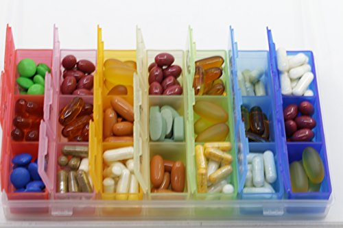 Pill Organizer Box with Snap Lids| 7-day AM/PM | Detachable Compartments for Pills, Vitamin. (Rainbow+60182) by Inspiration Industry NY (Image #1)