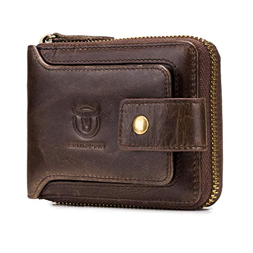 (Genuine Leather Change Wallet - Large Capacity ID Window Card Case with Zip Coin Pocket Short Purse)