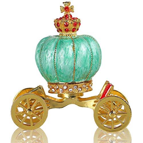 Pumpkin Carriage Decorative Rhinestones Hinged Jewelry Trinket Box Figurine Collectible Ornament