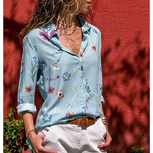 Chemisier Bleu Tidecc Femme Longues Manches 7FnWXq4f