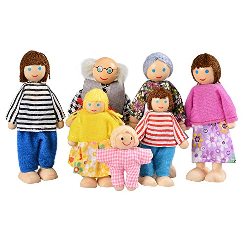 Arshiner Poseable Dollhouse Dolls Wooden Doll Family Pretend Play Mini People Figures 7-Piece