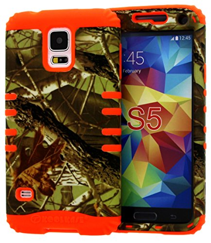 Galaxy S5 Case, [Wireless Fones TM Included] Hybrid Heavy Duty Rugged Armor Shock Proof Impact Resistant Grip Cover for Samsung Galaxy S5 (exclusive camo mossy/orange) (Koolkase Samsung Galaxy S4 Case)