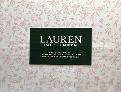RALPH LAUREN 4 Piece Sheet Set Pastel Pink Wildflowers Floral Pattern with Leaves - 100% Cotton (Queen)