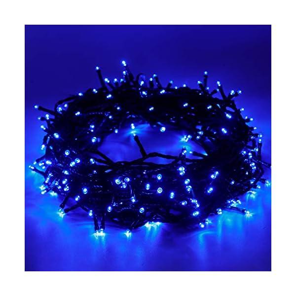 EPESL Luci natalizie 12m 120 leds con 8 modalità di memoria end to end estensibile catene luminose esterni ed interni decorazione per giorno di natale alberi casa Halloween festa giardino - blu 1 spesavip