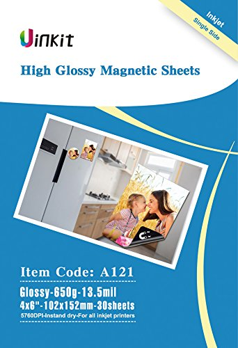 Magnetic Photo Paper 4x6 Glossy - 30 Sheets pack 13.5mil 650gsm Uinkit fridge Inkjet Photographic Paper