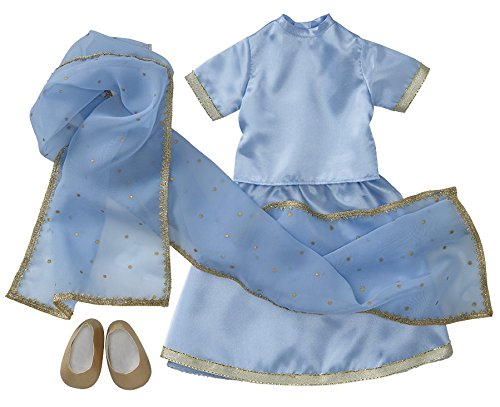 """Starpath Dolls 18"""" Doll Clothes Sky-Blue Indian Sari - Fits American Girl and Our Generation"""