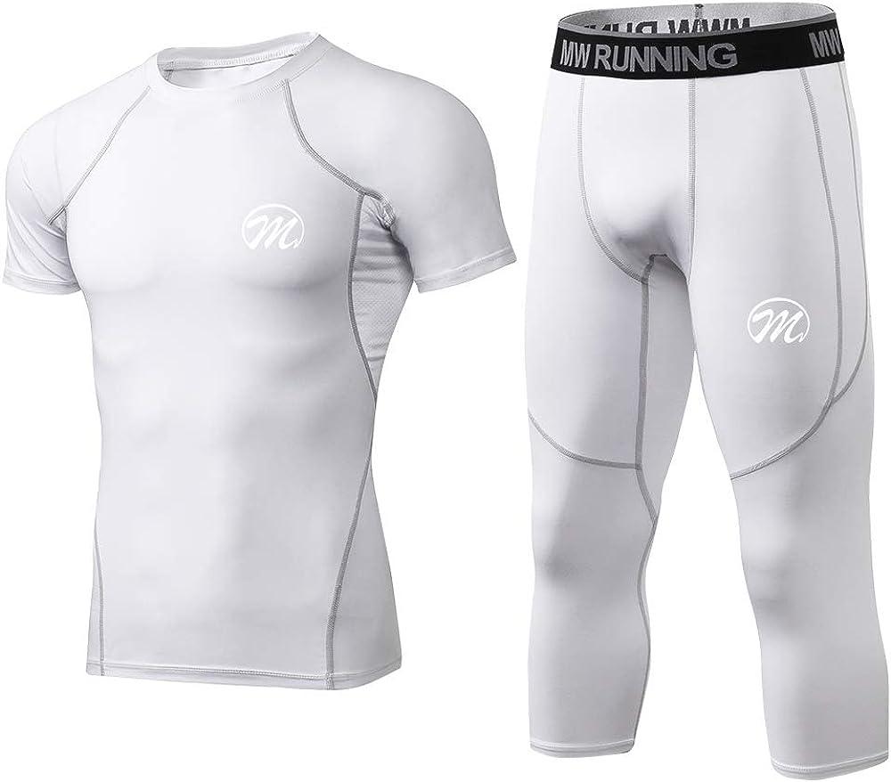 Kompressionshose Sport Funktionsshirt Kurzarm Leggings 3//4 Laufshirt Atmungsaktiv Sportshirt f/ür M/änner MEETWEE Kompressionsshirt Herren