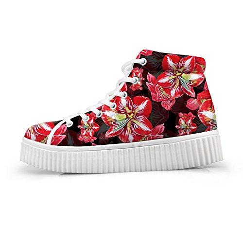 Hugs Platform Red Floral High Flower Idea Women Shoes Sneakers Fashion Top qTIqFrHx