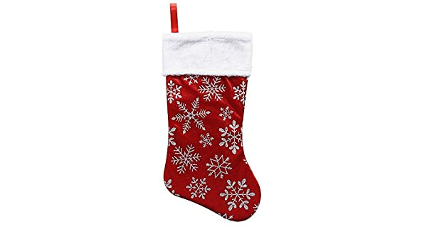 Collectibles RED VELVET CHRISTMAS STOCKING w/ FELIZ NAVIDAD & HOLLY BERRIES EMBROIDERED