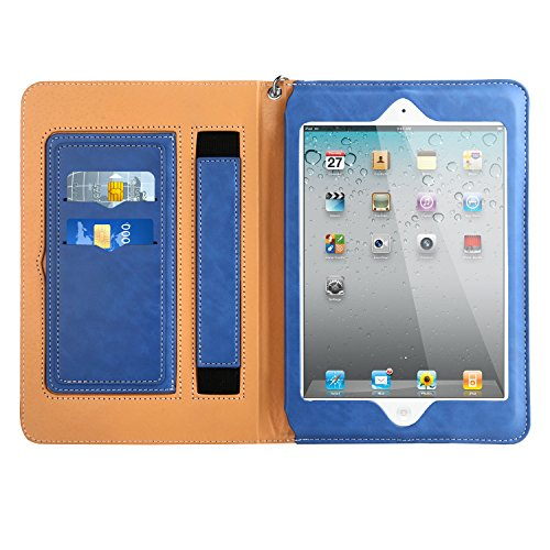 iPad 2 3 4 Sleeve Case Cover, Abestbox Multi Function Flip Leather Case [Auto Sleep/Wake] Portable Travel Bag with Card Slots Stand for iPad2 / iPad3 / iPad4 (Blue)