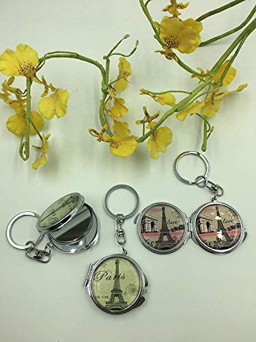 CLGIFT Set of 12 Compact Mirror for Wedding/Bridal Shower/Baby Shower/Quinceañera/Birthday/Baptism/Religious Gift/Favor (Paris Eiffel Tower Mirror Keychain)
