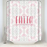 Bathroom Shower Curtain Vintage Floral ''Faith'' Printed Waterproof Fabic Curtains With Hooks Set 72x84IN