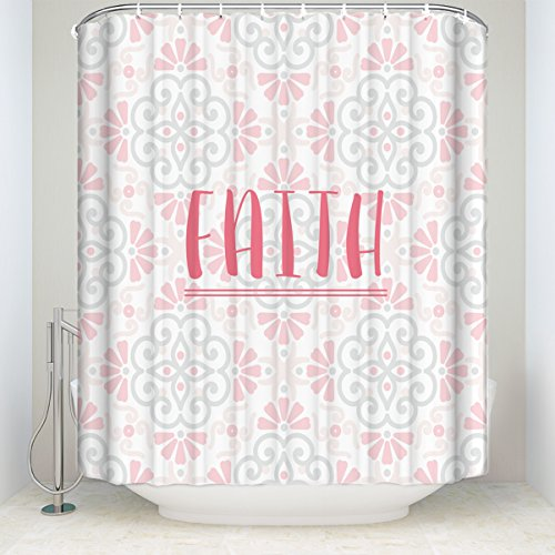 Bathroom Shower Curtain Vintage Floral ''Faith'' Printed Waterproof Fabic Curtains With Hooks Set 72x84IN by SUN-Shine