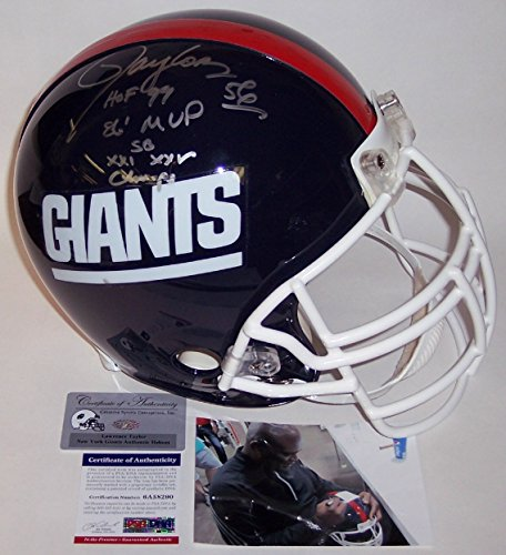 Lawrence Taylor Autographed Hand Signed NY New York Giants Throwback Full Size Authentic Football Helmet - with 86 MVP, SB XXI,XXV Champs & HOF 99 Inscriptions - PSA/DNA (Taylor Autographed Sb)