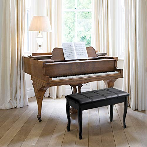 Giantex Piano Bench PU Leather W/Padded Cushion and Music Storage, Comfortable Double Duet Seat, Wooden Legs, Perfect for Professional or Home Use Piano Stool (Black)