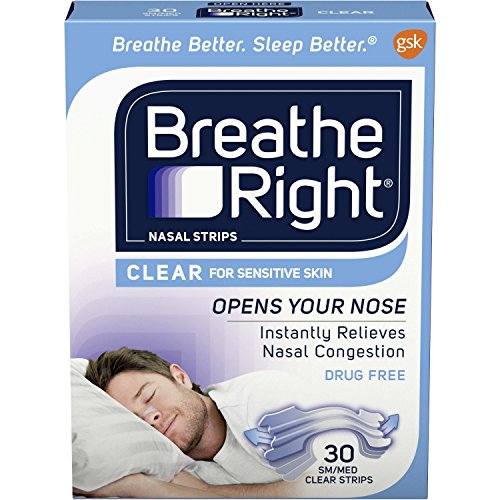 Breathe Right Clear for Sensitive Skin Small/Medium Drug-Free Nasal Strips for Nasal Congestion Relief, 30 count ()