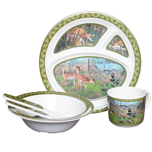 Wild Wings Children's 5-Piece Melamine Tableware Set Featuring Deer