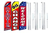 automotive repair,oil change Welcome King Swooper Feather Flag Sign Kit With Complete Hybrid Pole set- Pack of 3