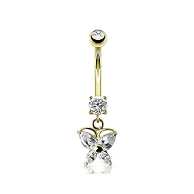 Amazon Com 14k Yellow Gold Marquise Cz Butterfly Navel Ring