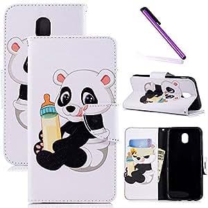 COTDINFOR Galaxy J3 Pro Funda Animales Impresión Patrón Suave PU Cuero Magnético Billetera con Tapa para Tarjetas de Cárcasa para Samsung Galaxy J3 2017(EU Edition) / J330 Baby Panda BF.