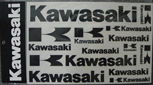 - Kawasaki Logo Decal Sheet Black 14 Stickers In All K067-9508-BKNS